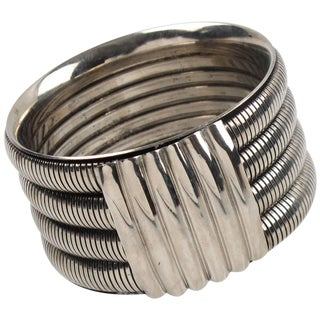 Space Age Machine Age Modernist Large Chrome Bracelet Bangle For Sale