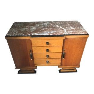 1930s Art Deco Oak Marble & Brass Dresser