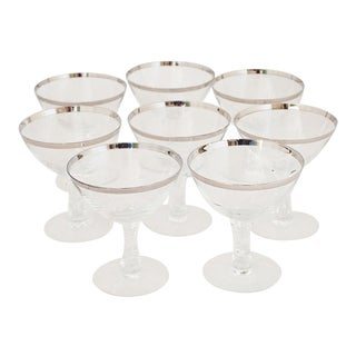 Fostoria 'Wedding Ring' Platinum Rim Champagne Glasses - Set of 8 For Sale