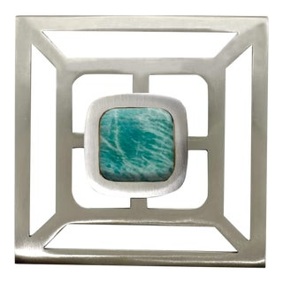 Addison Weeks Benson Pull with Backplate, Brushed Nickel & Amazonite For Sale