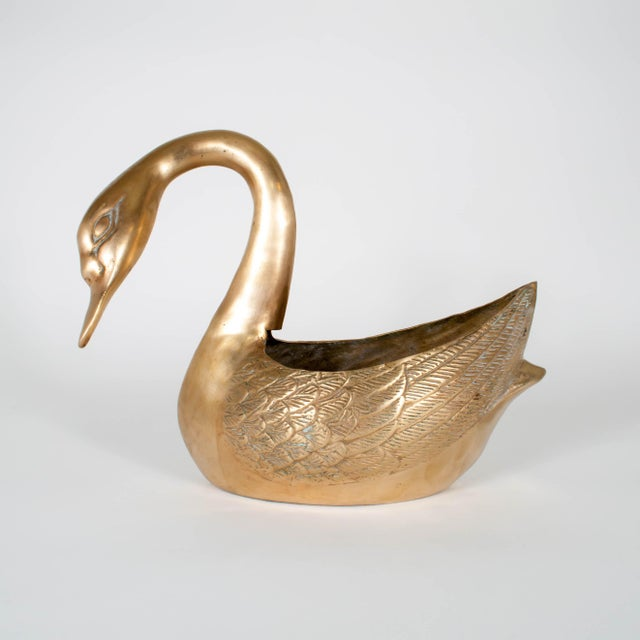 Brass Vintage Brass Swan Planters - Set of Three For Sale - Image 8 of 12