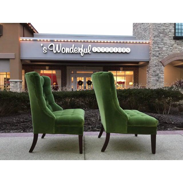 These are absolutely a gorgeous vibrant Green Designers Guild velvet. Just back from the upholsterer. 100% cotton velvet.