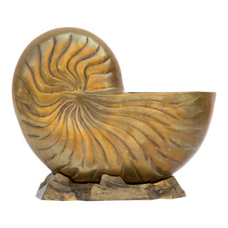 Vintage Solid Brass Nautilus Shell Planter For Sale