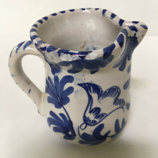 1950's Italian Blue & White Hand Painted Pottery/Ceramic - 4 Pc. For Sale - Image 6 of 11