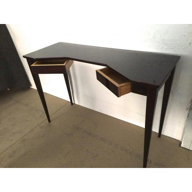 Hollywood Regency Maison Jansen Refined Black Lacquered 2 Doors Lady Desk For Sale - Image 3 of 4