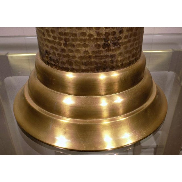 Chapman Brass & Hammered Metal Brutalist Lamp For Sale - Image 12 of 13