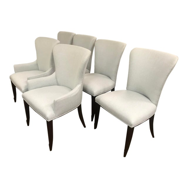 Henredon Furniture Barbara Barry Bowmont Light Blue Dining Chairs- 6 Pieces For Sale