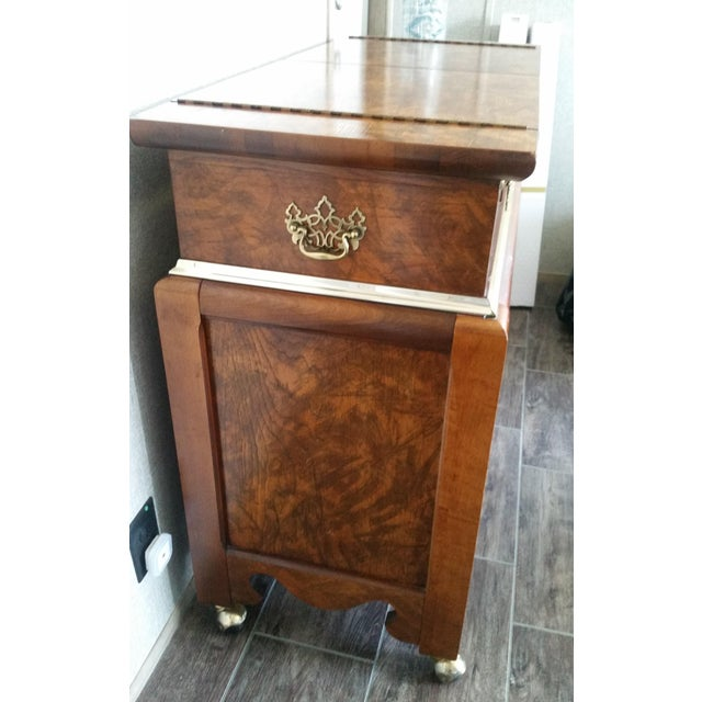 Hollywood Regency Oriental-Inspired Rolling Credenza Sideboard For Sale - Image 3 of 13