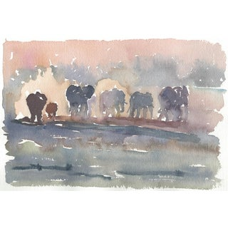 Original Watercolor Painting of a Line of Elephants at Dawn