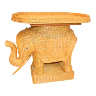Boho Chic Wicker Rattan Elephant Tray Table For Sale