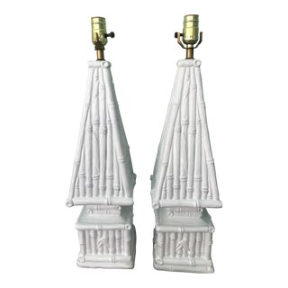 20th Century Hollywood Regency Ceramic Bamboo Obelisk Lamps - a Pair For Sale