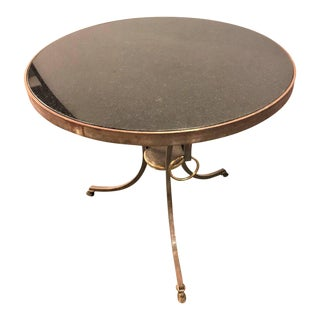 French Directoire Style Iron and Brass Marble-Top Gueridon Table