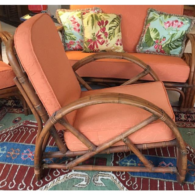 Vintage Mid Century Rattan Set Chairs & Loveseat For Sale - Image 9 of 13