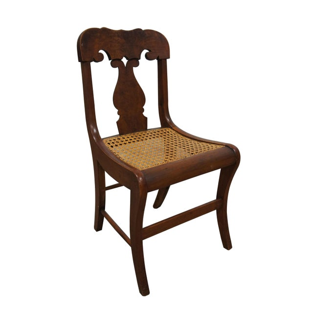 Empire Mid 19th Century Antique Crotch Walnut Federal Empire Cane Seat Dining Side Chairs- Set of 4 For Sale - Image 3 of 12