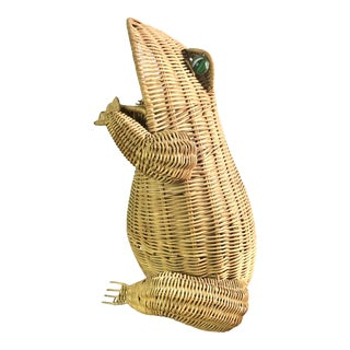 1970s Mid Century Wicker Frog Basket With Glass Marble Eyes For Sale