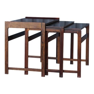 Set of Three Danish Nesting Tables in Rosewood For Sale