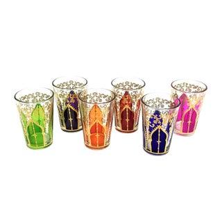 Moroccan Multicolored Handpainted Teaglasses- Set of 6