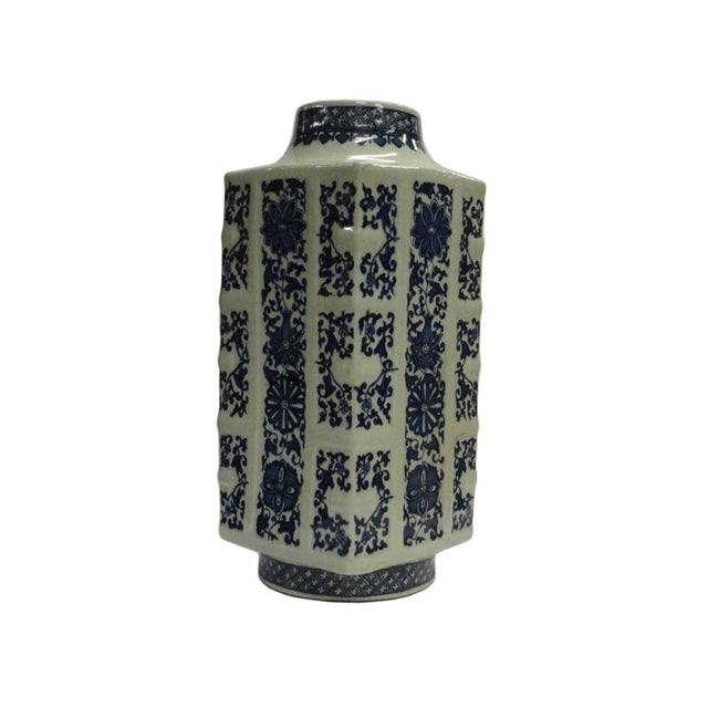 Asian Chinese Blue & White Column Porcelain Vase For Sale - Image 3 of 4