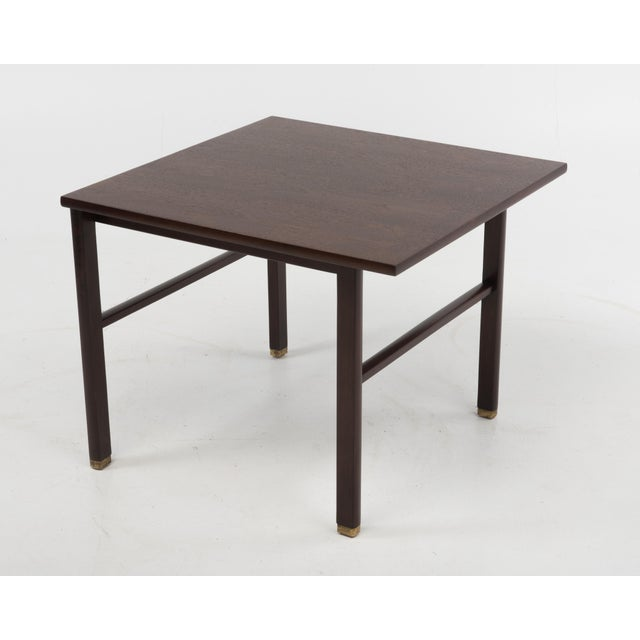 Dunbar Furniture Cantilevered Edward Wormley Dunbar Square Side End Table 1960s Walnut Brass Tag For Sale - Image 4 of 10