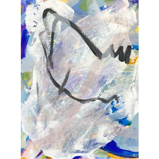Blue and Gray Original Contemporary Painting on Paper For Sale