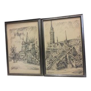 European Town Framed Prints - A Pair