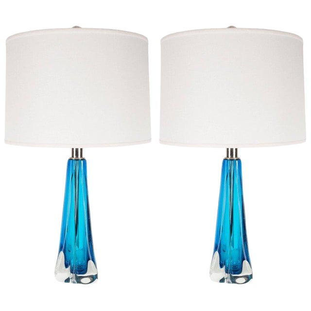 Pair of Modernist Handblown Murano Pale Sapphire & Translucent Glass Table Lamps For Sale