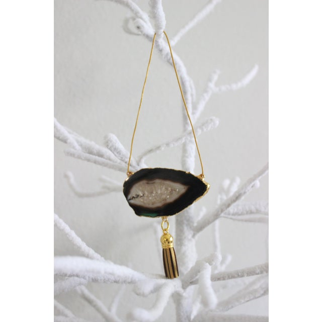 Modern Boho Black Agate Holiday Ornaments - A Pair - Image 5 of 6