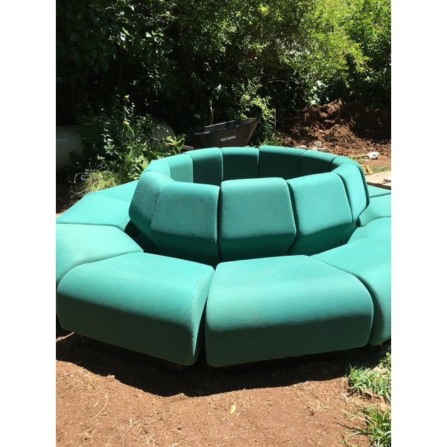 Very nice originally upholstered teal space-age Herman Miller and Don Chadwick Modular 12 piece sectional. Forms a circle....
