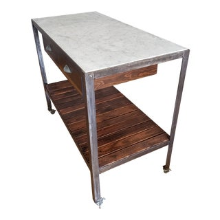 1970s Mid-Century Modern Marble & Brushed Metal Kitchen Island For Sale