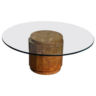 Burl Olive Wood Glass Top Table by Edward Wormley for Dunbar For Sale