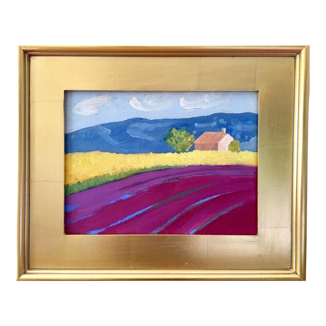"""Contemporary Landscape Plein Air Oil Painting """"Fields of Lavender"""" by Kelly Ayers Sheehan For Sale"""