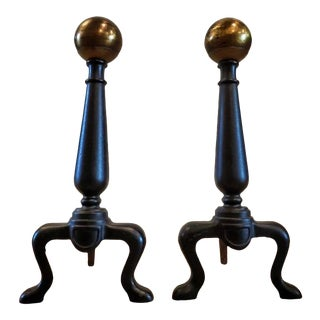 Antique Cannonball Forged Iron & Gilt Bronze Andirons - a Pair For Sale