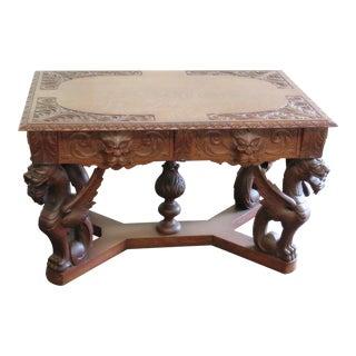 Renaissance Style Wooden Desk For Sale