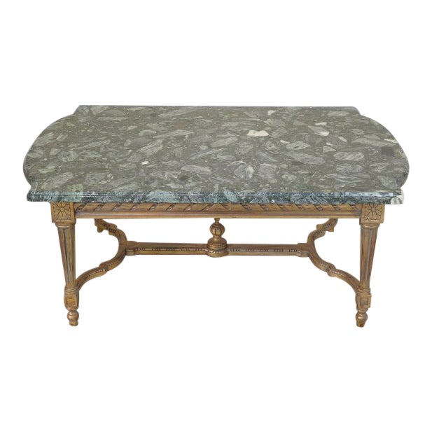Marble Topped Gilt Coffee Table C 1920: French Louis XVI Style Marble Top Gold Gilt Coffee Table