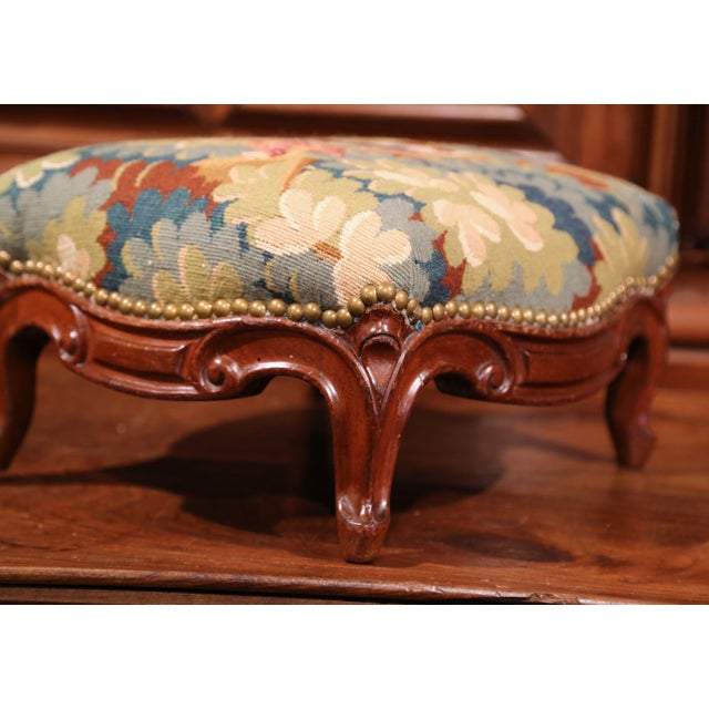 Blue Pair of 19th Century, French, Carved Walnut Stools with Old Aubusson Tapestry For Sale - Image 8 of 10