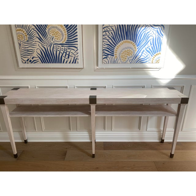 """Add a special detail to your home that will """"wow"""" everyone who walks into your home! Beautiful white washed console table..."""