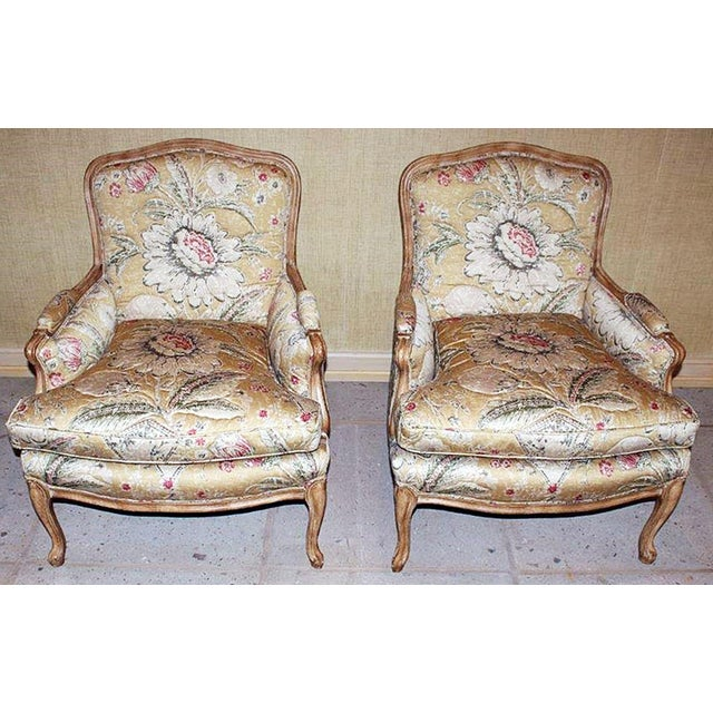 Bleached Bergere Armchairs Pair For Sale In West Palm - Image 6 of 7