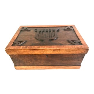 19th Century Tiger Maple Hearts and Lyre Folk Art Dressing Box For Sale