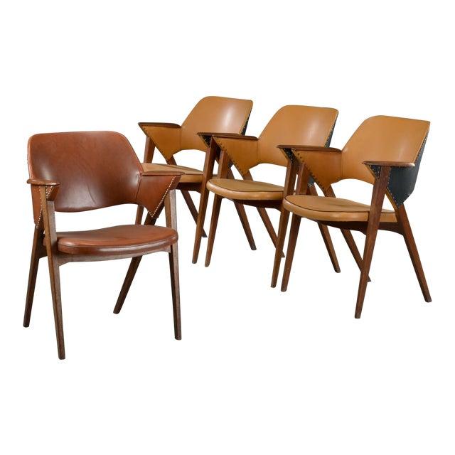 Set of Four Danish Modern Midcentury Teak Armchairs For Sale