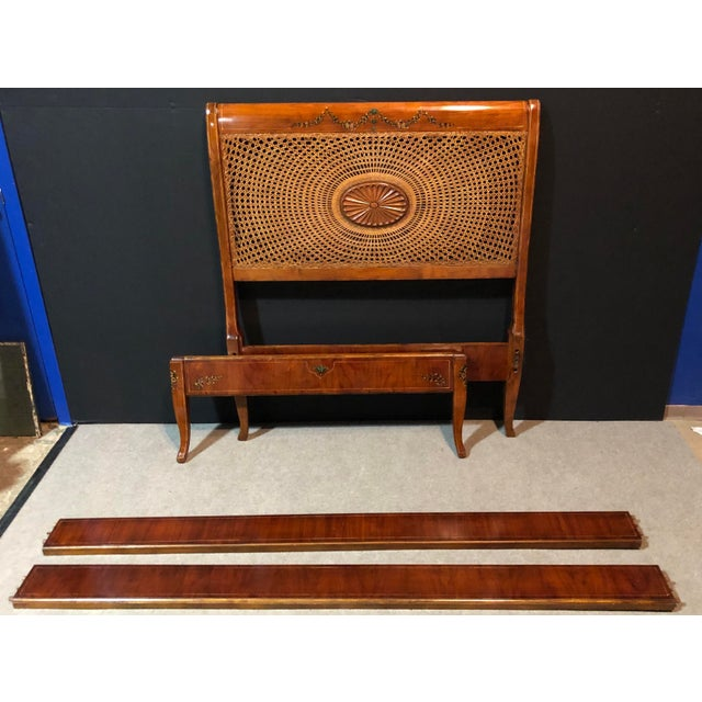 Wood 20th Century Edwardian Hand Painted and Caned Wood Twin Bedframe For Sale - Image 7 of 7