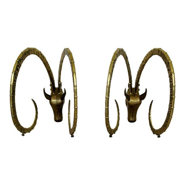 Mid Century Modern Hollywood Regency Pair Bronze Ibex Heads Chervet Attr 1970s For Sale
