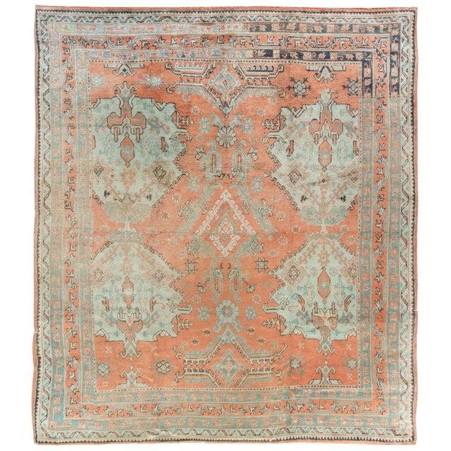 Antique Turkish Oushak Rug For Sale - Image 9 of 9
