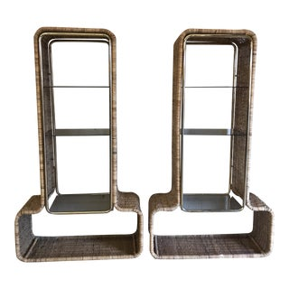 1970s Wicker Brass & Smoked Glass Shelving - A Pair For Sale