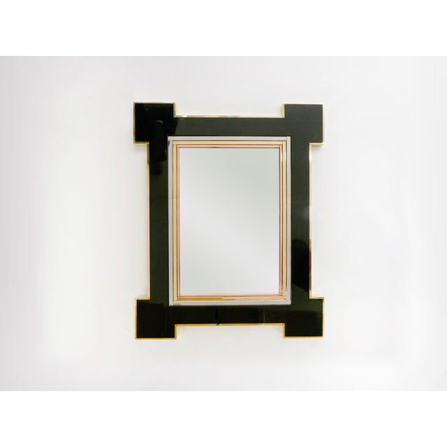 Mid-Century Modern 1975 Alain Delon for Maison Jansen Lacquer and Brass Wall Mirror For Sale - Image 3 of 13