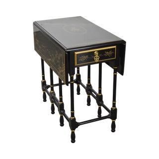 Drexel Heritage Ebonized Chinoiserie Drop Leaf Gate Leg 1 Drawer Side Table