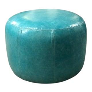 Maisie Blue Leather Ottoman