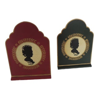 Pair of Tole Silhouettes Bookends For Sale