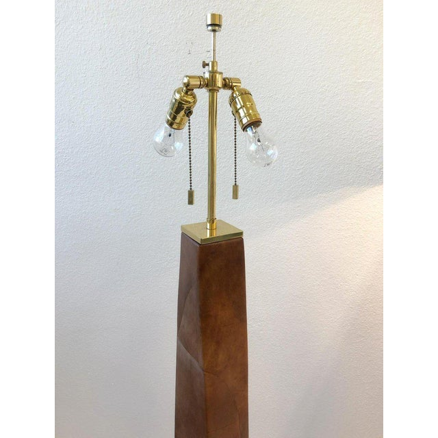 1980s Brass and Leather Floor Lamps by Karl Springer - a Pair For Sale - Image 9 of 10