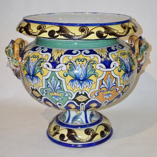 Majolica Montagnon 1880s French Blue, Yellow, Green Majolica 2 Pc. Jardinière on Stand For Sale - Image 4 of 13