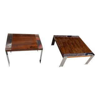 Mid Century Modern Milo Baughman Rosewood and Chrome Coffee and Side Tables - A Pair For Sale